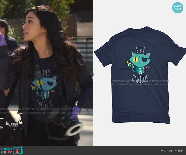 Stay Curious T-Shirt by DinoMike at Teefury worn by Ella Lopez (Aimee Garcia) on Lucifer
