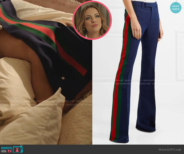 Striped Wool and Silk-Blend Cady Flared Pants by Gucci worn by Fallon Carrington (Elizabeth Gillies) on Dynasty