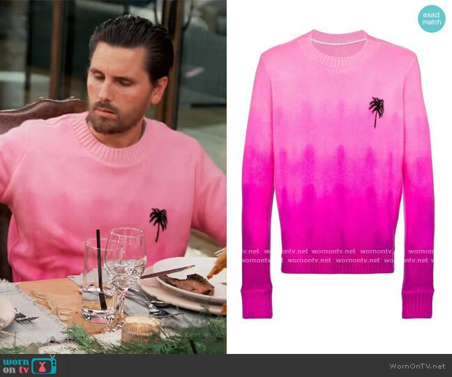 Gradient dye palm tree sweater by The Elder Statesman