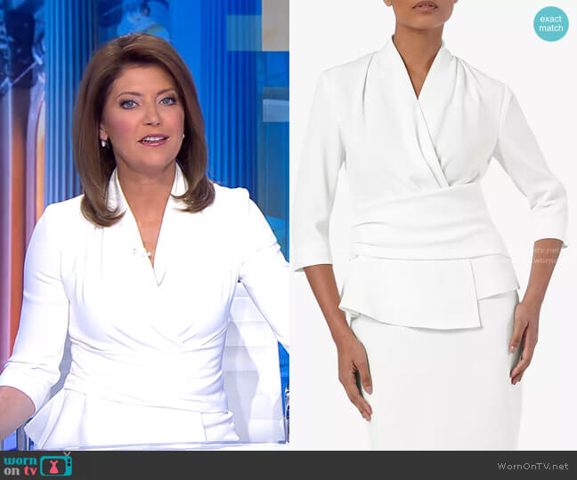 Clever Crepe Belleville Top by The Fold London worn by Norah O'Donnell  on CBS Evening News