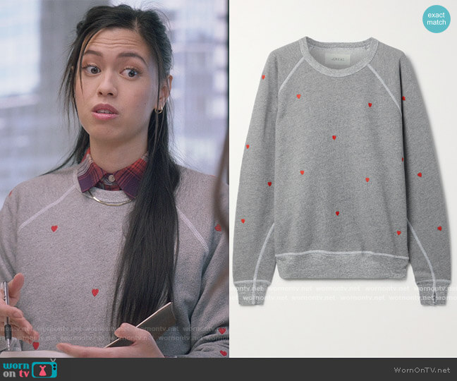 The College embroidered cotton-blend terry sweatshirt by The Great worn by Christine-L-Nguyen on The Bold Type