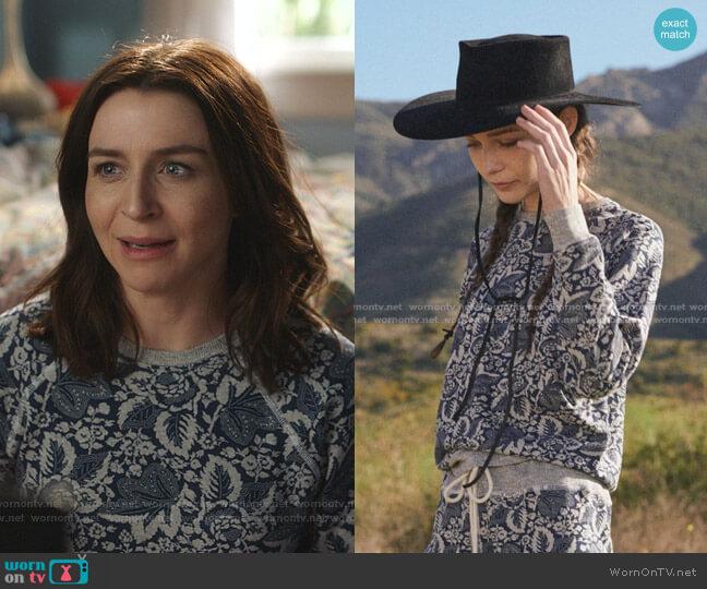 The Shrunken Sweatshirt in Heathered Falling Leaves by The Great worn by Amelia Shepherd (Caterina Scorsone) on Greys Anatomy