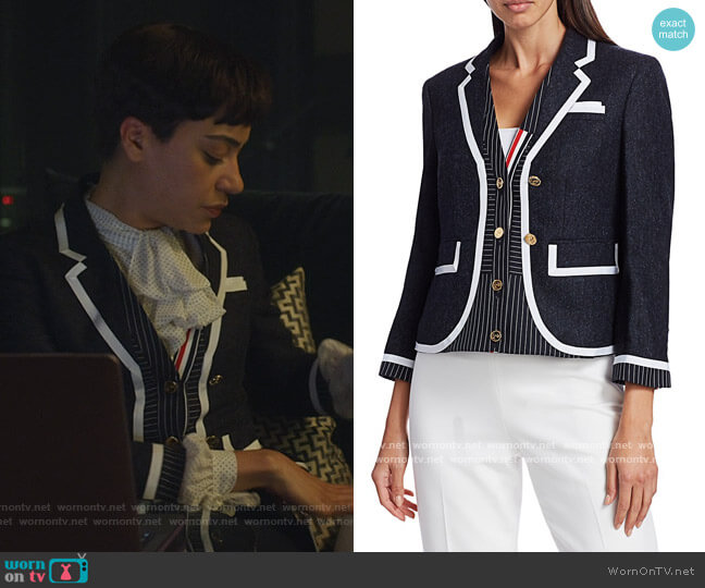 Trompe L'oeil Cardigan Combo Jacket by Thom Browne worn by Lucca Quinn (Cush Jumbo) on The Good Fight