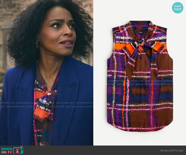 Tie-Neck Blouse in Speckled Plaid by J. Crew worn by Sasha Snow (Margaret Odette) on Sex/Life
