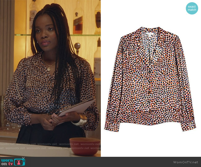 Animal Smudge Shirt by Topshop worn by Rachel Mutombo on The Bold Type