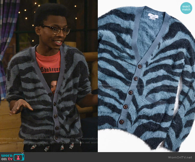 Fuzzy Tiger Print Cardigan by Urban Outfitters worn by Noah Lambert (Israel Johnson) on Bunkd