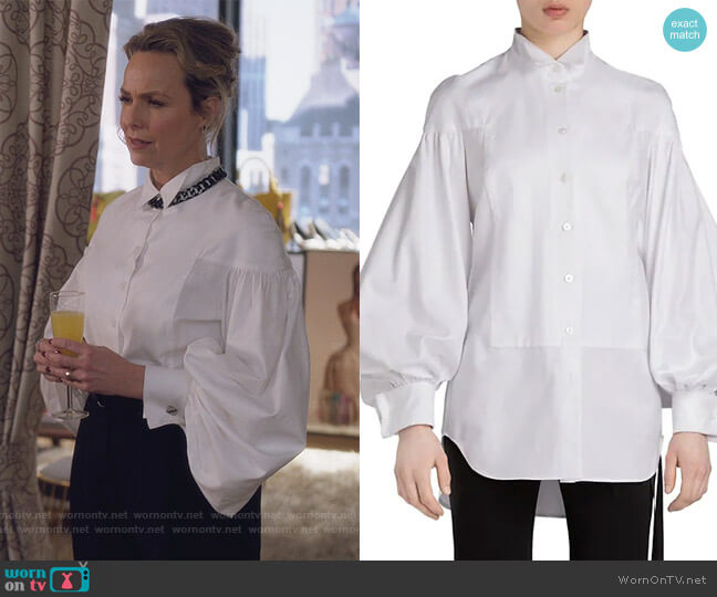 Damian Puff-Sleeve Shirt by Unttld worn by Jacqueline (Melora Hardin) on The Bold Type