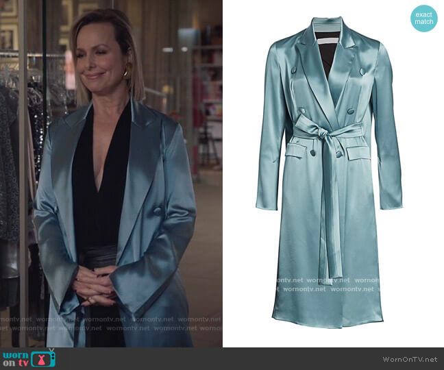 Double-Breasted Satin Trench Dress by Unttld worn by Jacqueline (Melora Hardin) on The Bold Type