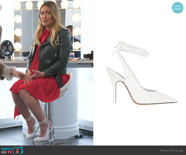 Venus Croc-Embossed Pumps by Attico  worn by Kelsey Peters (Hilary Duff) on Younger
