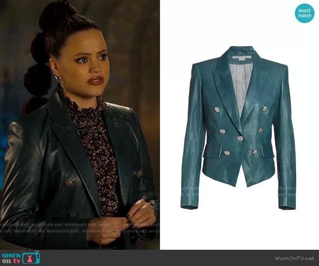 Veronica Beard Cooke Leather Dickey Jacket worn by Maggie Vera (Sarah Jeffery) on Charmed