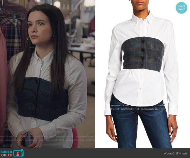 Miki Bustier Button-Down Blouse by Veronica Beard worn by Jane Sloan (Katie Stevens) on The Bold Type
