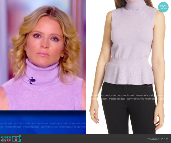 Noor Sleeveless Cashmere Turtleneck Sweater by Veronica Beard worn by Sara Haines  on The View