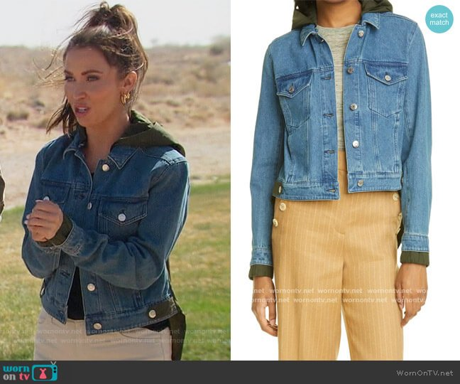 Shani Mixed Media Denim & Twill Jacket by Veronica Beard worn by Kaitlyn Bristowe on The Bachelorette worn by Kaitlyn Bristowe  on The Bachelorette