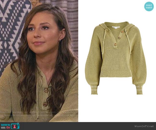 Ursina Hooded Rib Knit Sweater by Veronica Beard worn by Katie Thurston  on The Bachelorette