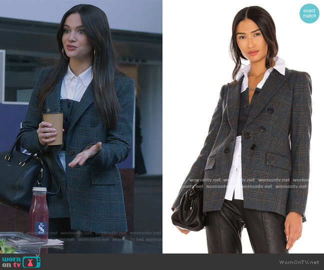 Yareli Plaid Wool Jacket by Veronica Beard worn by Jane Sloan (Katie Stevens) on The Bold Type