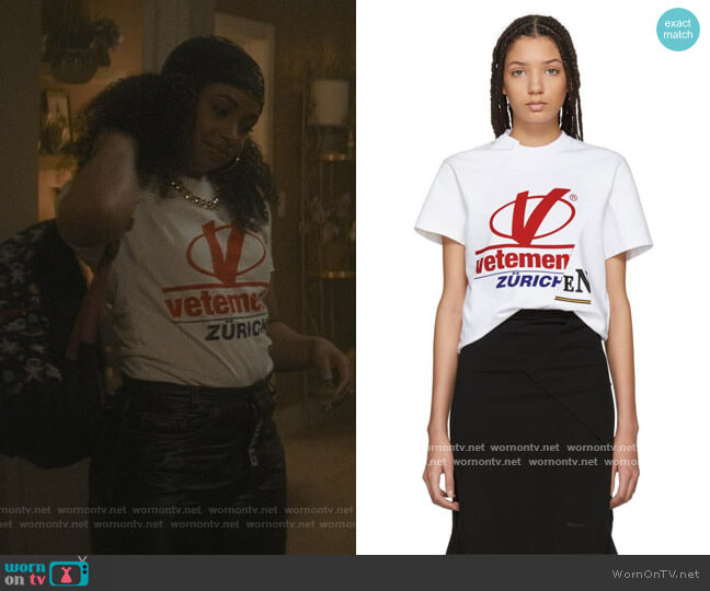 White Cut-up Zurich T-shirt by Vetements worn by Hannaha Hall on The Chi