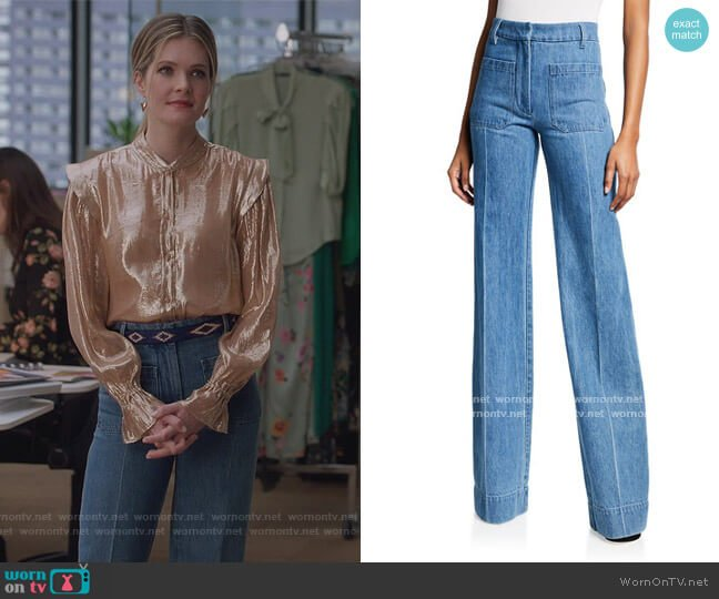 High-Rise Patch Pocket Denim Jeans by Victoria Beckham worn by Sutton (Meghann Fahy) on The Bold Type