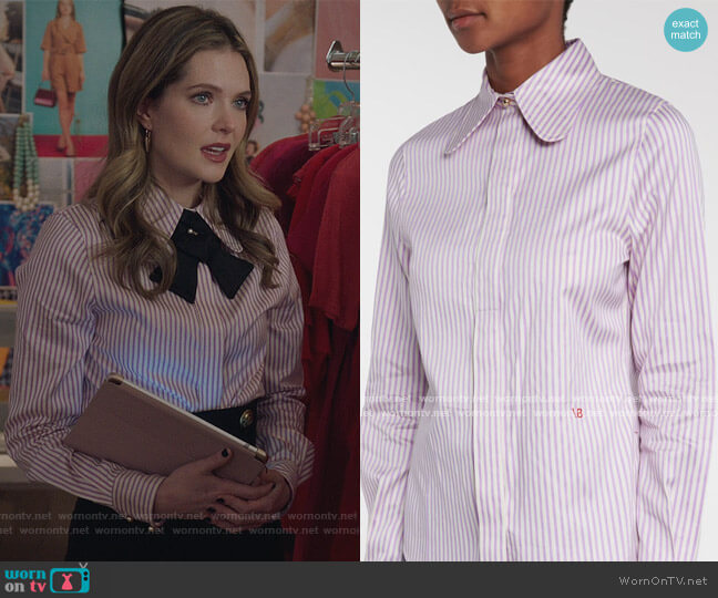 Striped cotton-blend shirt by Victoria Beckham worn by Sutton (Meghann Fahy) on The Bold Type