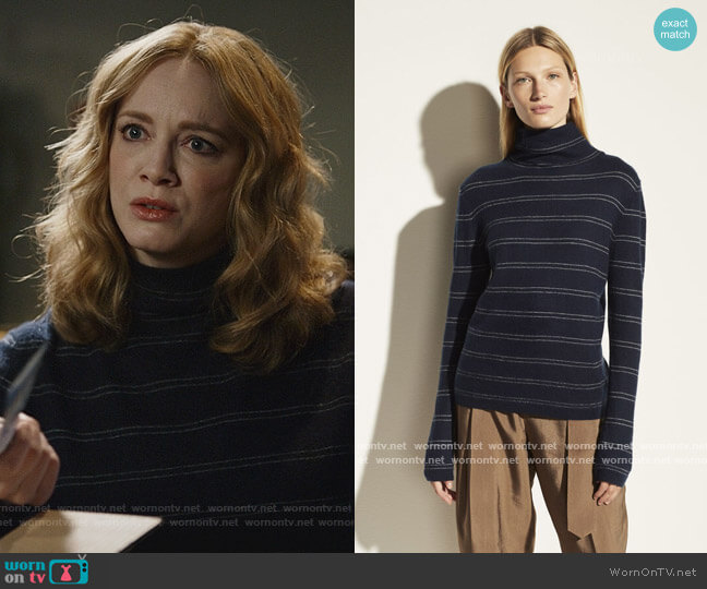 Boiled Cashmere Striped Fitted Turtleneck by Vince worn by Beth Boland (Christina Hendricks) on Good Girls
