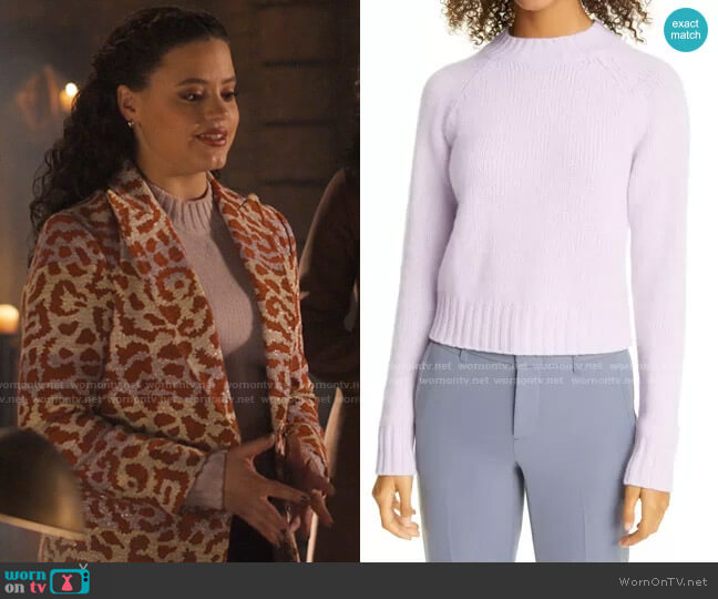 Vince Shrunken Mock Neck Cashmere Sweater worn by Maggie Vera (Sarah Jeffery) on Charmed