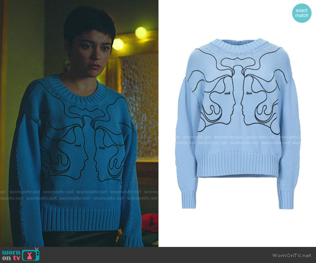 Embroidered Face Knit Sweater by Vivetta worn by Ari Blanco (Carla Diaz) on Elite