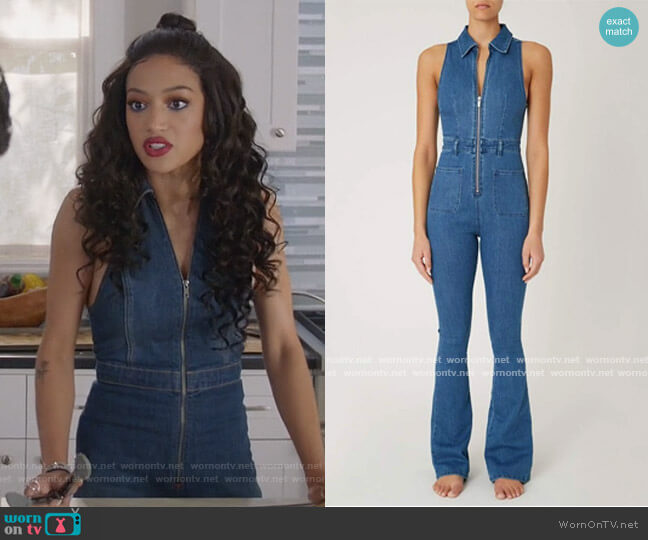 Sleeveless Jumpsuit Light Wash by We Wore What worn by Olivia Baker (Samantha Logan) on All American