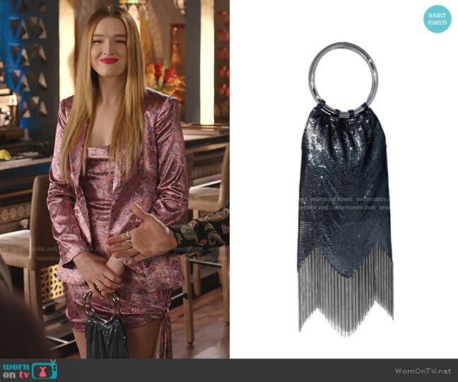 Rio Mesh Clutch Bag by Whiting & Davis worn by Kirby Anders (Maddison Brown) on Dynasty