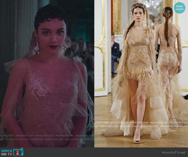 Georgina & Evelyn Dress by YolanCris worn by Ari Blanco (Carla Diaz) on Elite