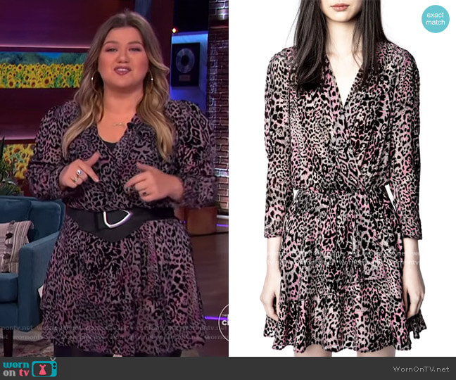 Rogers Velours Leopard & Paisley Print Long Sleeve Dress by Zadig & Voltaire worn by Kelly Clarkson  on The Kelly Clarkson Show