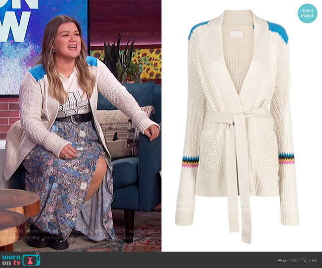 Contrast-panel Wool Cardigan by Zadig and Voltaire worn by Kelly Clarkson  on The Kelly Clarkson Show