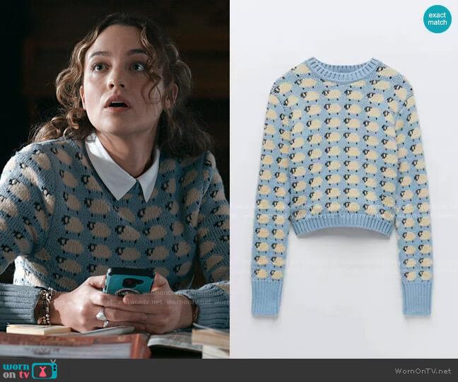 Zara Knit Jacquard Sweater worn by Sarah Cooper (Stella Baker) on The Republic of Sarah