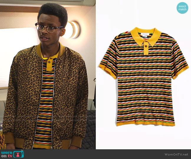 Zeke Stripe Sweater Polo Shirt by Urban Outfitters worn by Noah Lambert (Israel Johnson) on Bunkd