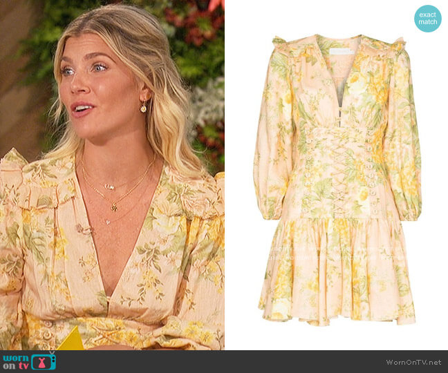 Amelie floral-print dress by Zimmermann worn by Amanda Kloots  on The Talk