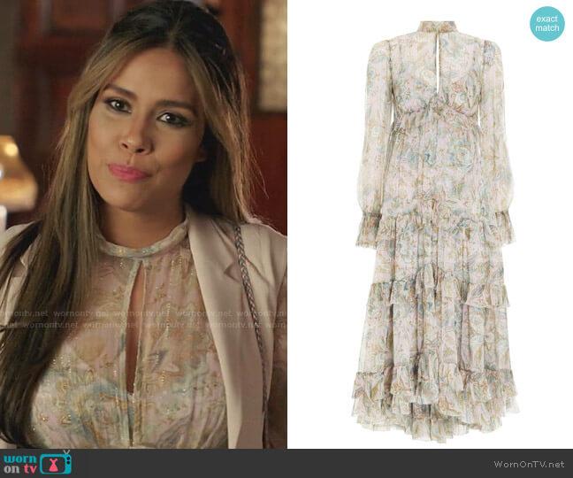 Lucky Gathered Frill Dress by Zimmermann worn by Cristal Jennings (Daniella Alonso) on Dynasty