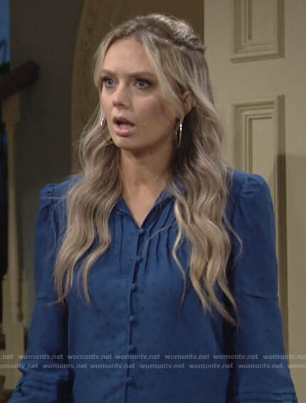 Abby's blue button down top on The Young and the Restless