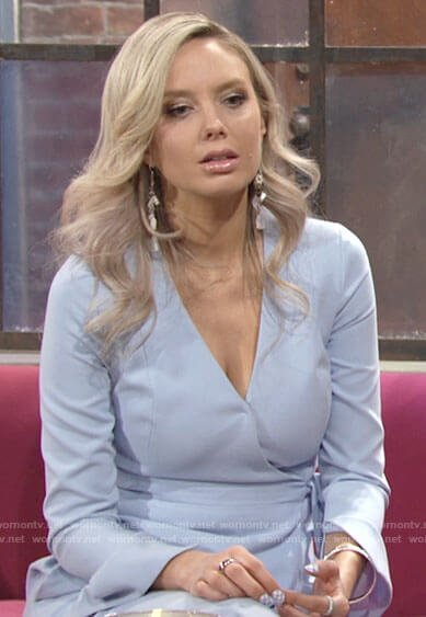 Abby's pastel blue wrap top and pants set on The Young and the Restless