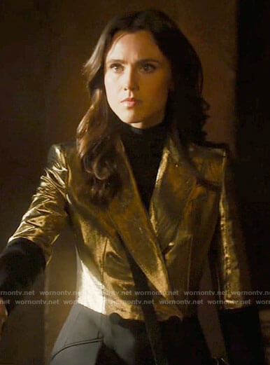 Abigael's gold and black colorblock blazer on Charmed
