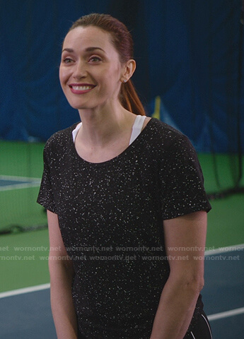 Abigail's black speckled tee and mini skirt on Good Witch