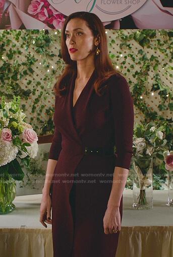 Abigail's  black floral v-neck short sleeve top on Good Witch