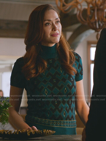 Abigial's green and black short sleeve sweater on Good Witch