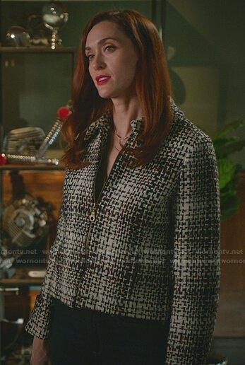 Abigail's green satin wrap top on Good Witch