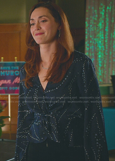 Abigail's navy star print twisted top on Good Witch