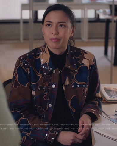 Darby's floral blouse on The Bold Type