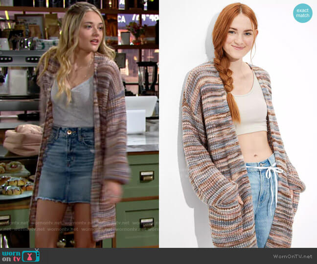 AE Oversized Dreamspun Cardigan worn by Faith Newman (Reylynn Caster) on The Young & the Restless