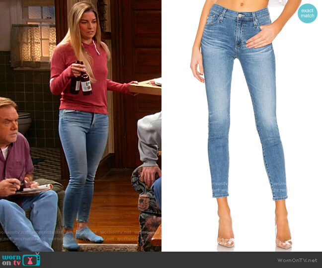 AG Adriano Goldschmied Farrah Skinny Jeans worn by Allison (Annie Murphy) on Kevin Can F**k Himself