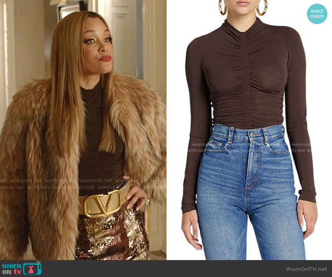 Ansel Ruched Long-Sleeve Top by A.L.C. worn by Dominique Deveraux (Michael Michele) on Dynasty