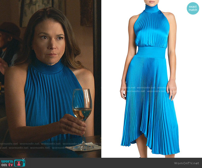 Renzo Pleated Midi Dress by A.L.C. worn by Liza Miller (Sutton Foster) on Younger