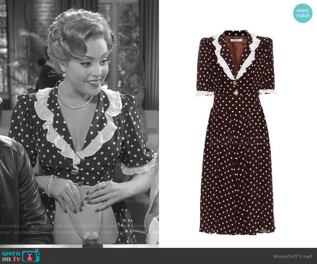 Polka-Dot Silk Midi Dress by Alessandra Rich worn by Fallon Carrington (Elizabeth Gillies) on Dynasty