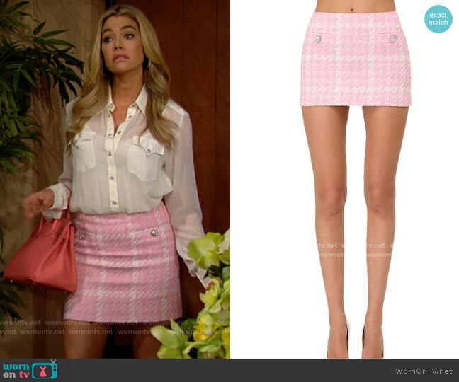 Alessandra Rich Tweed Button Mini Skirt with Crystals worn by Shauna Fulton (Denise Richards) on The Bold & the Beautiful