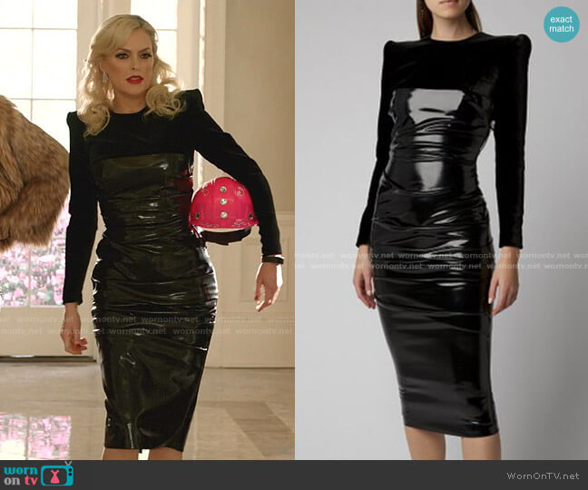 Hart Ruched Jersey-Paneled Vinyl Midi Dress by Alex Perry worn by Alexis Carrington (Elaine Hendrix) on Dynasty
